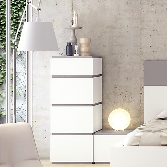 chiffonnier 4 tiroirs thelma blanc gris. Black Bedroom Furniture Sets. Home Design Ideas