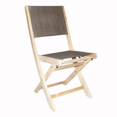 Lot de 2 chaises en teck avec toile  textilène chocolat MEDICIS