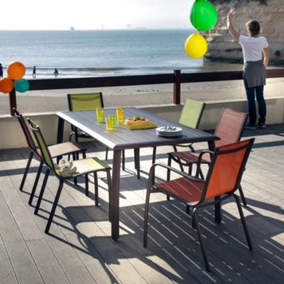 Lot de 2 chaises empilables Linéa,  aluminium/textilène