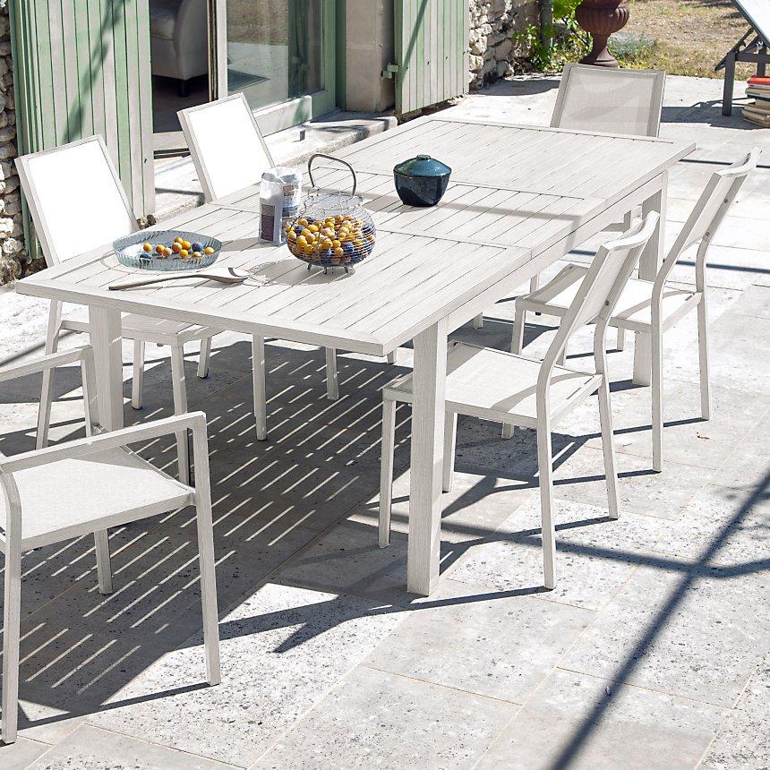 Ensemble table Milano avec 4 chaises et  2 fauteuils Florence grège/blanc