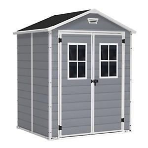Abri de 4 m² avec double porte gris et  fenêtres CHALET & JARDIN