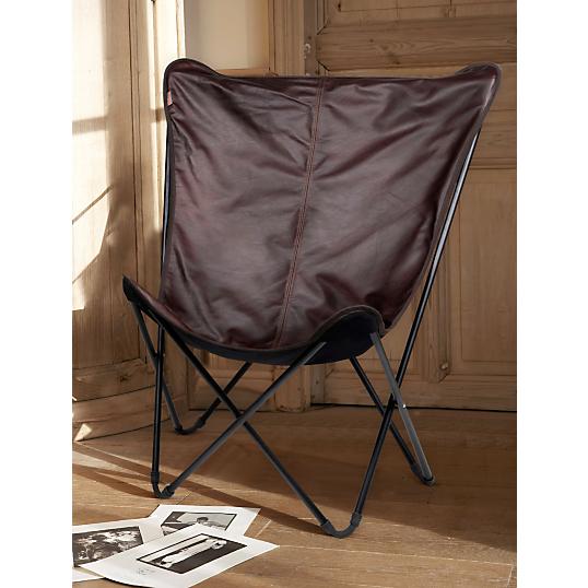 transat pliant lafuma maxi pop up cuir vachette. Black Bedroom Furniture Sets. Home Design Ideas