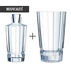 Lot Carafe 0.9 L + Vase - Macassar CRIST