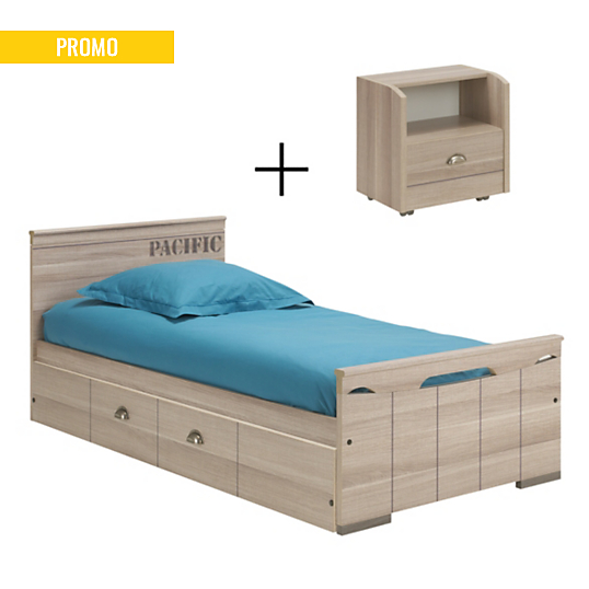 lit 90 x 190 cm tiroir lit chevet garnache gami. Black Bedroom Furniture Sets. Home Design Ideas