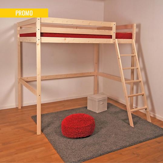 lit mezzanine wolf brut. Black Bedroom Furniture Sets. Home Design Ideas