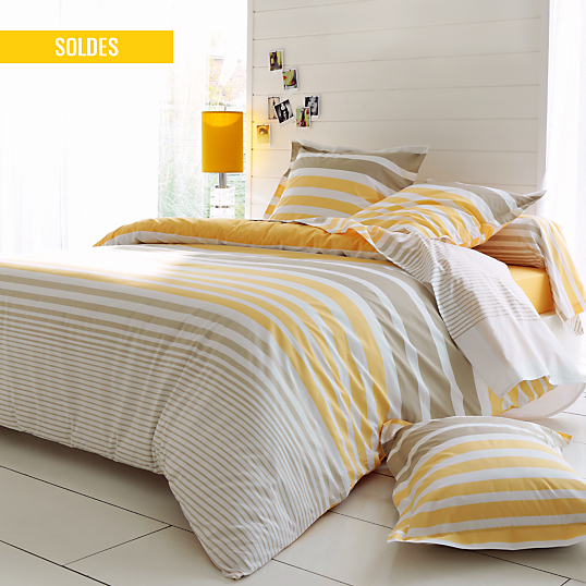 housse de couette percale stripe narcisse tradilinge. Black Bedroom Furniture Sets. Home Design Ideas