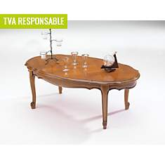 Table basse ovale Savignac, merisier
