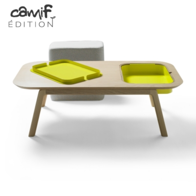 Table basse Thomas & Florian avec casier  et pouf CAMIF EDITION