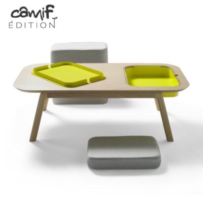 Table basse Thomas & Florian avec casier ,coussin et pouf CAMIF EDITION