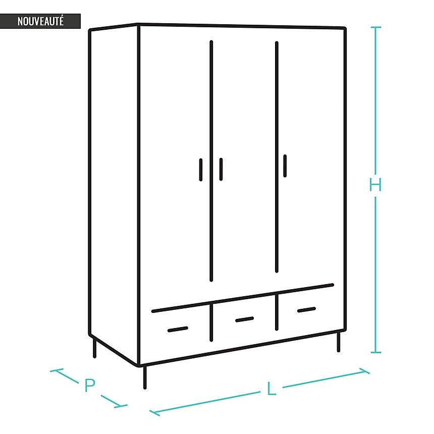 Armoire 4 portes + rehausse Priya