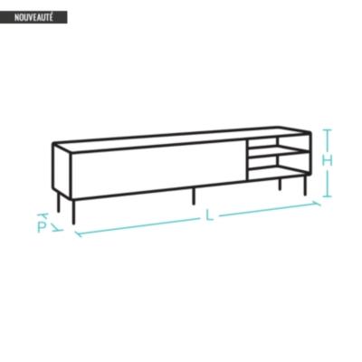 Meuble TV 2 niches 1 tiroir, Alliage