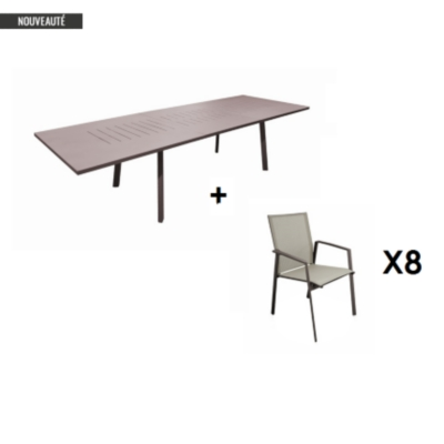 Ensemble table Barcelona 220/300 et 8  fauteuils rouille OCEO