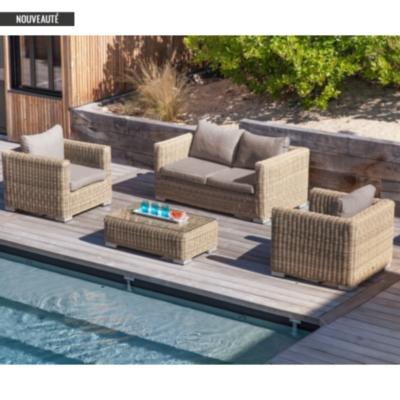 Canapé de jardin 2 places Rattan en résine et aluminium PRO LOISIRS