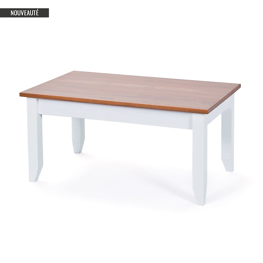 Table basse Inata, brun sépia/blanc
