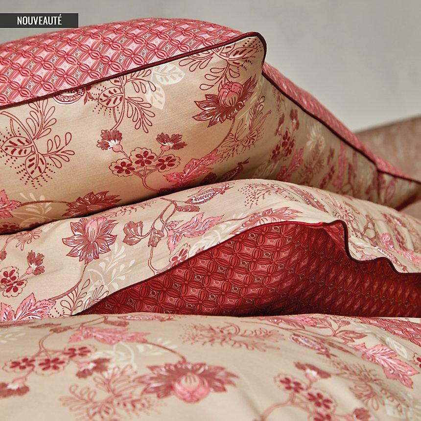 Parure de lit percale Decorum BLANC DES VOSGES, bois de rose