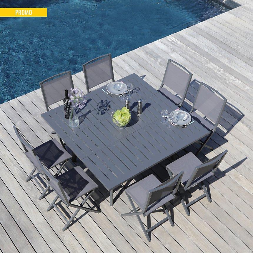 Ensemble table Barcelona 140 et 8  chaises Ida pliantes gris