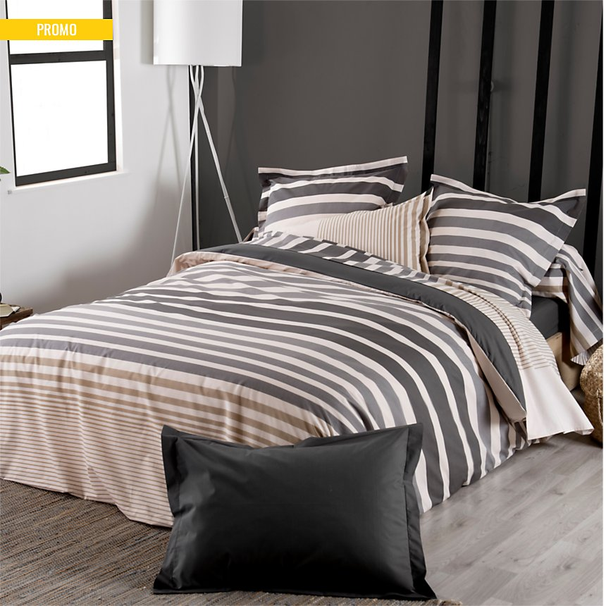 Taie d'oreiller percale Stripe Ficelle  TRADILINGE