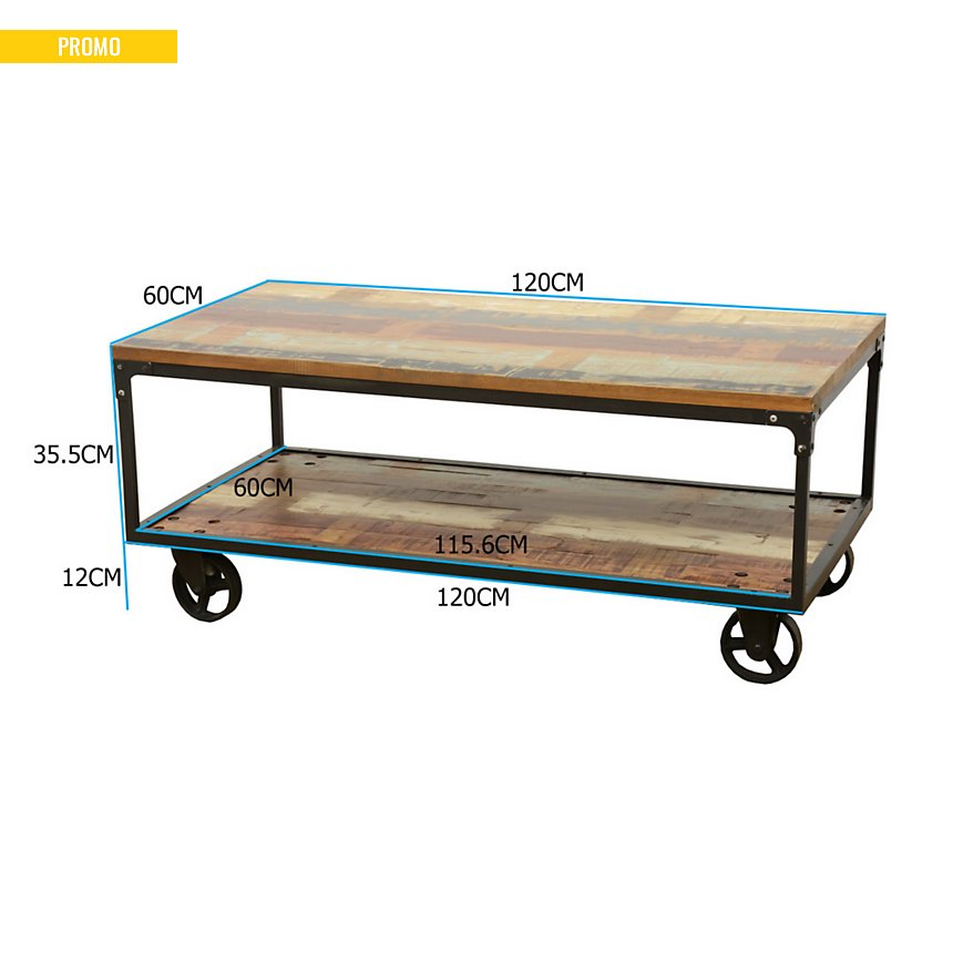Table basse rectangulaire sur roulettes  Industry