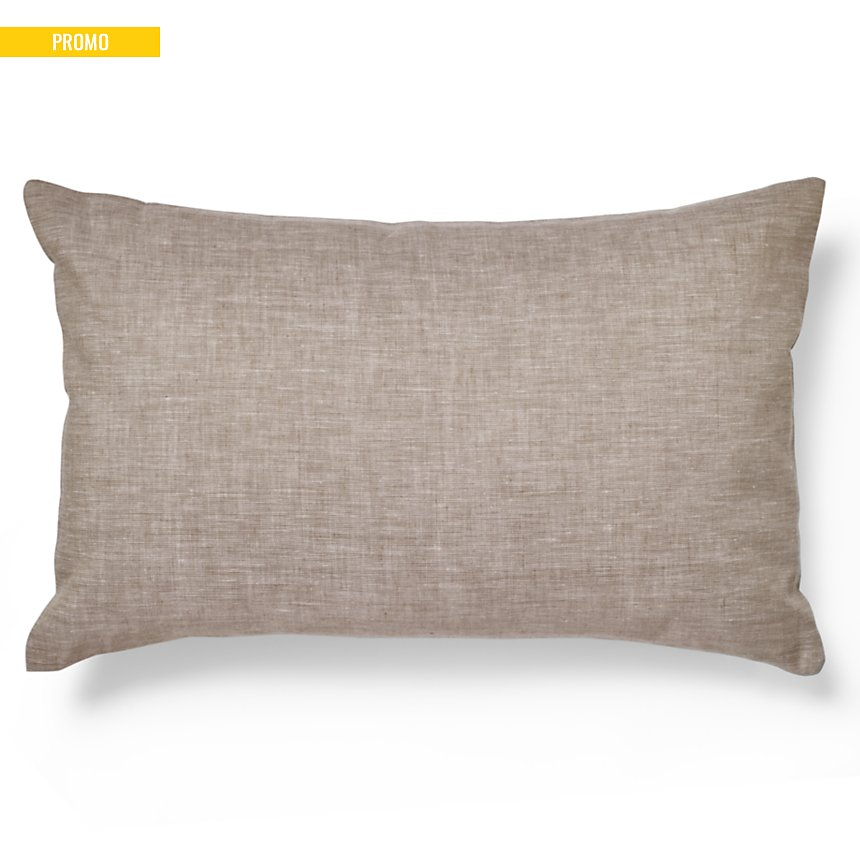 Housse de coussin Chambray Lin Catherine  et Francine CAMIF EDITION, beige