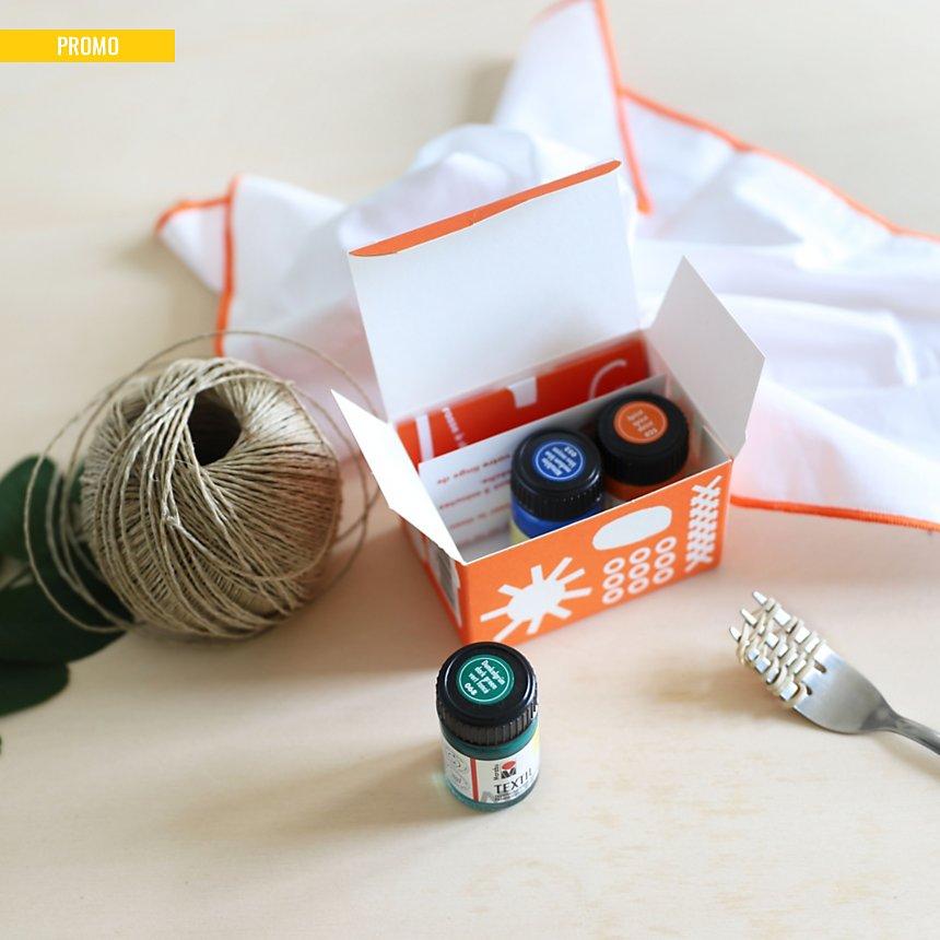 Coffret de personnalisation textile  CAMIF EDITION (orange, bleu, vert)