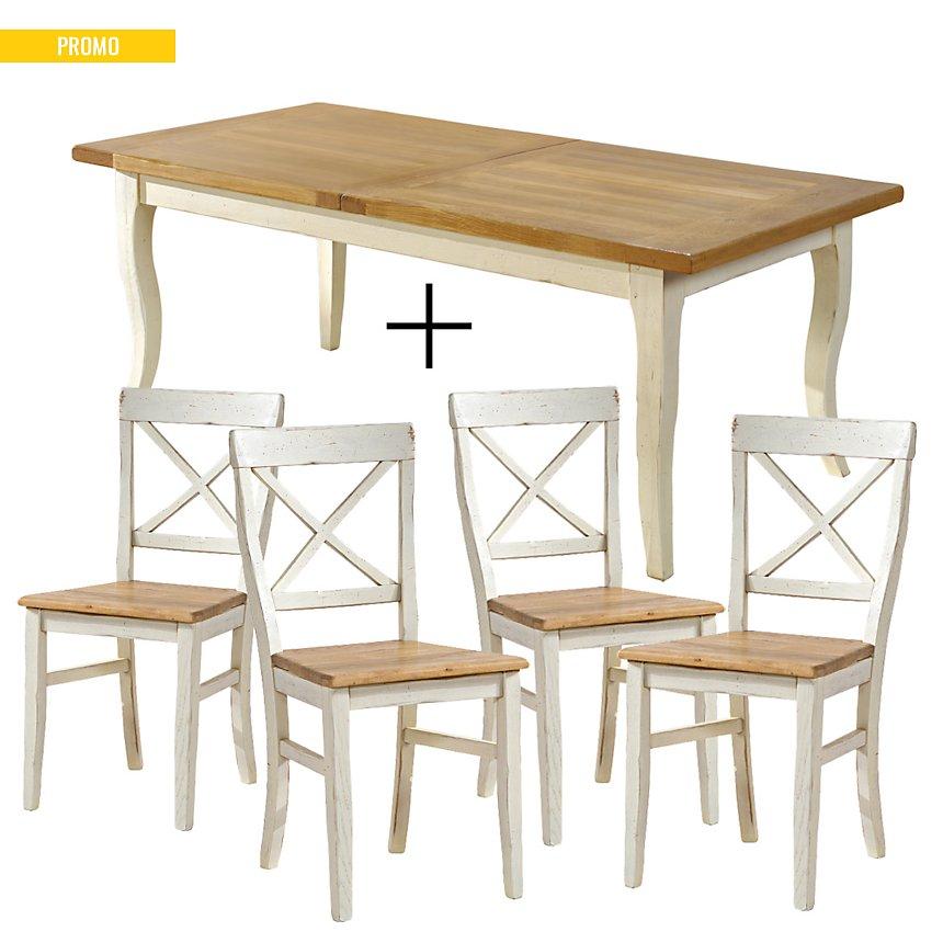 Ensemble table + 4 chaises Marguerite de Provence