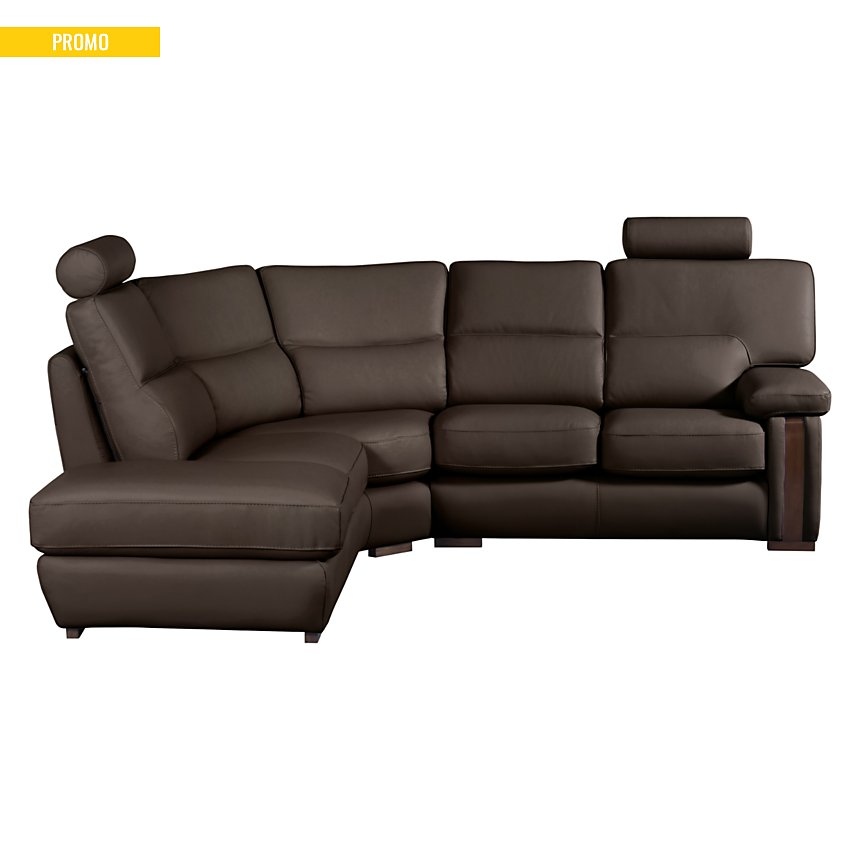 Canapé d'angle cuir avec boiserie Edenia
