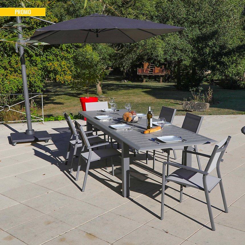 Ensemble Table Arano 200/305 X100 et 6 fauteuils beige MEDICIS