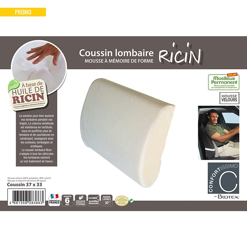 Coussin lombaire Ricin CONFORTISSIMO par BIOTEX