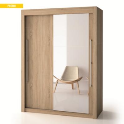 Armoire porte bois porte miroir h220 cm deborah for Armoire porte miroir