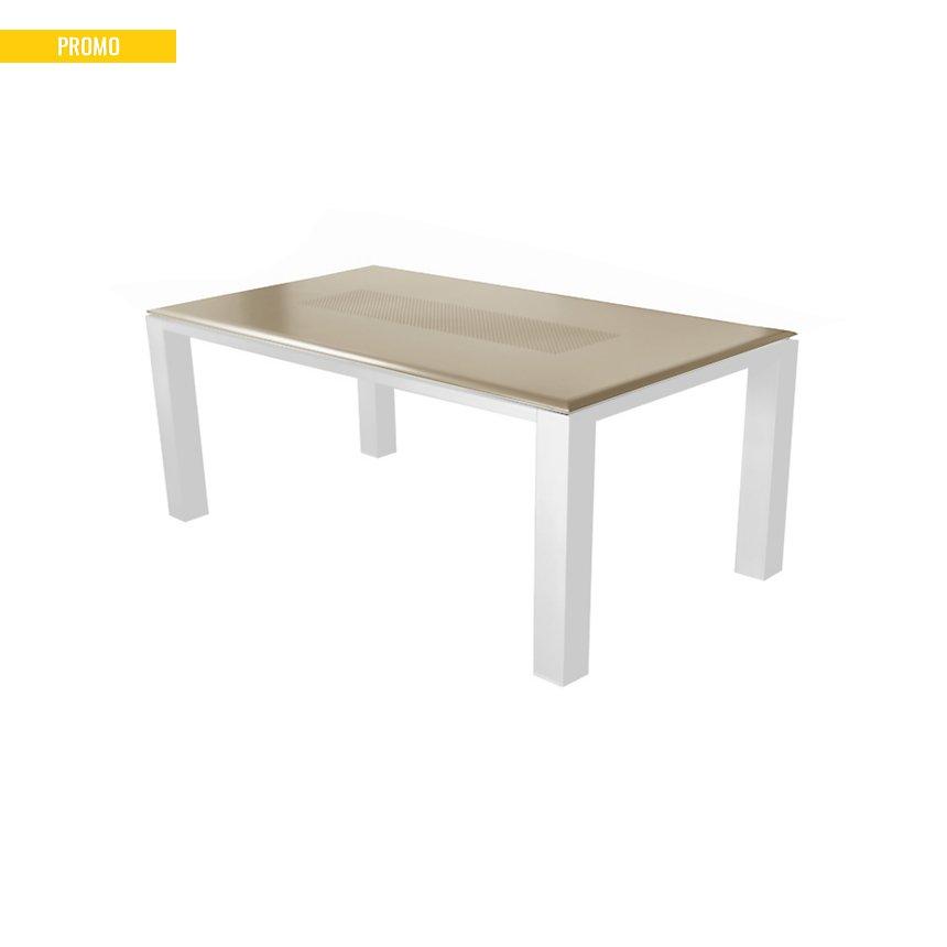 Ensemble table Florence 240 et 6  fauteuils Palma blanc/taupe