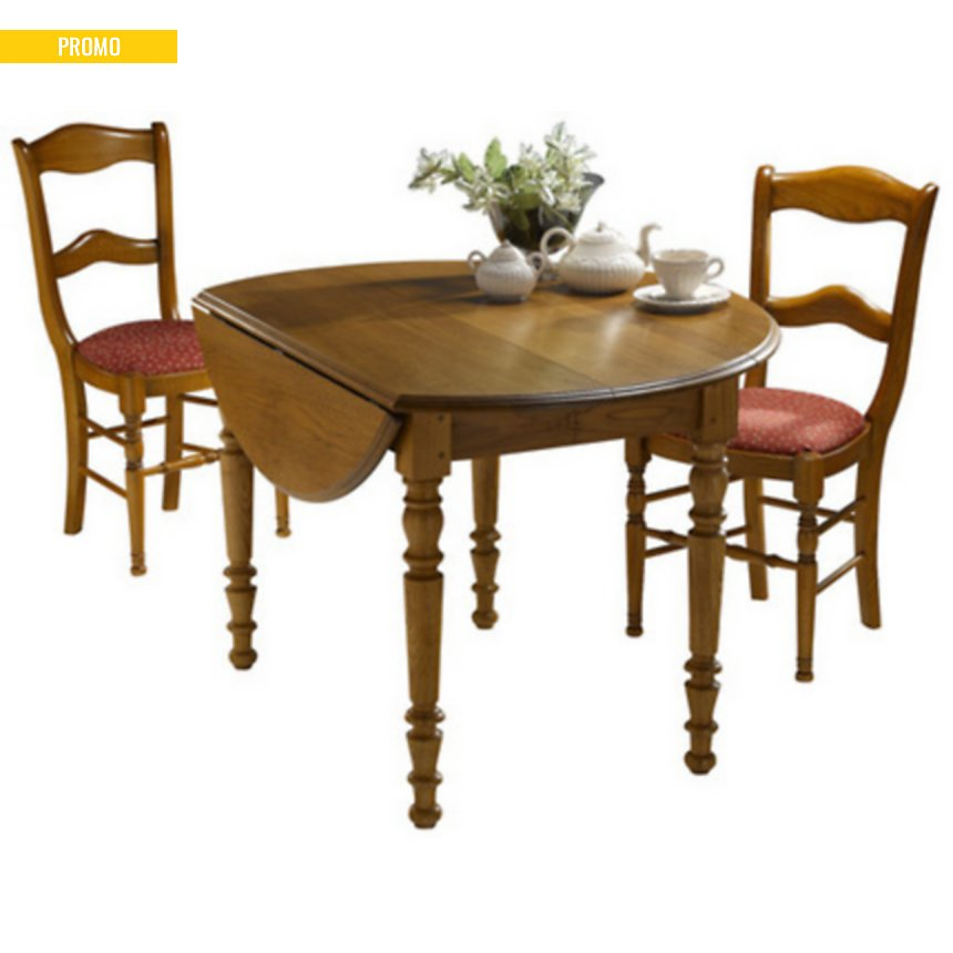 Table ronde à volets 90 Léonnie,  tilleul