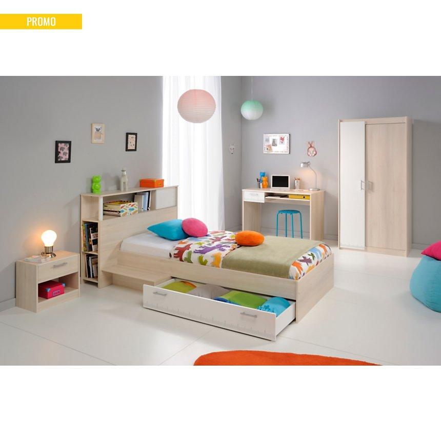 Lit rangement avec t te de lit pierre 90 x 190 cm for Mondo convenienza camerette composizione tipo