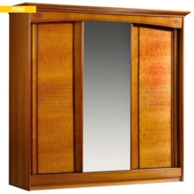 armoire 3 portes coulissantes mathilda merisier. Black Bedroom Furniture Sets. Home Design Ideas