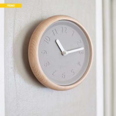 Toupie - horloge murale en bois et béton
