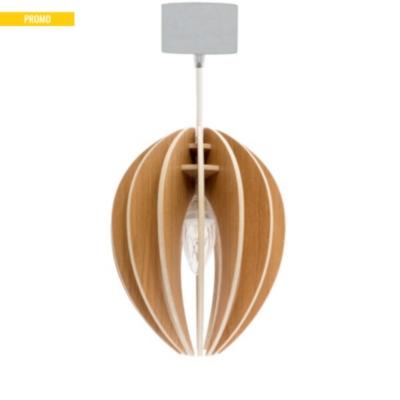 Fève - lampe à suspendre en bois avec cordon textile