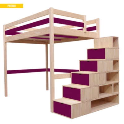 lit mezzanine sylvia avec escalier cube bois. Black Bedroom Furniture Sets. Home Design Ideas