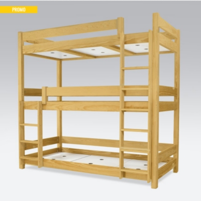 lit superpos abc 3 places en bois massif 90x190. Black Bedroom Furniture Sets. Home Design Ideas