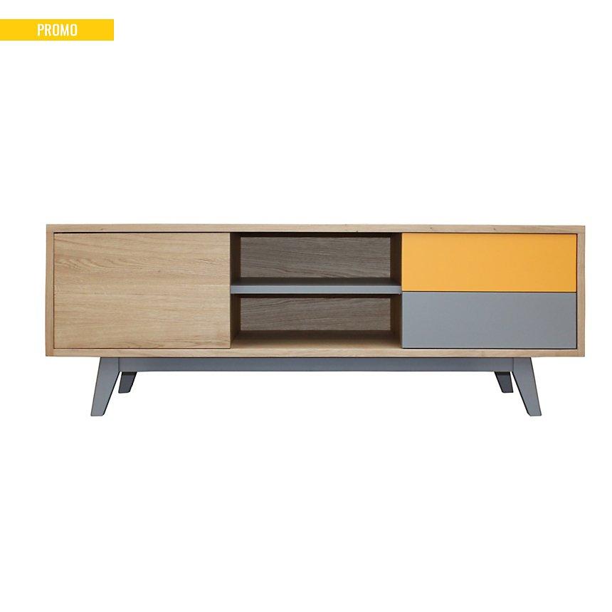 Buffet TV vintage 1 porte 2 tiroirs