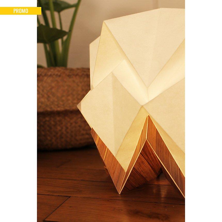 Lampe de table Origami en papier et tronc de Bananier recyclé
