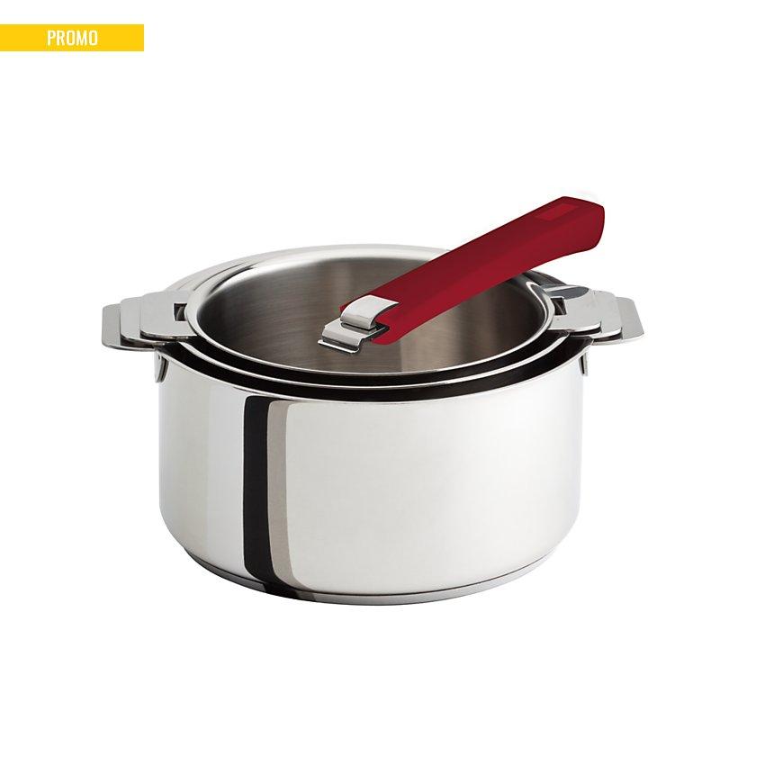 Set 3 casseroles CRISTEL Mutine+ poignée amovible framboise