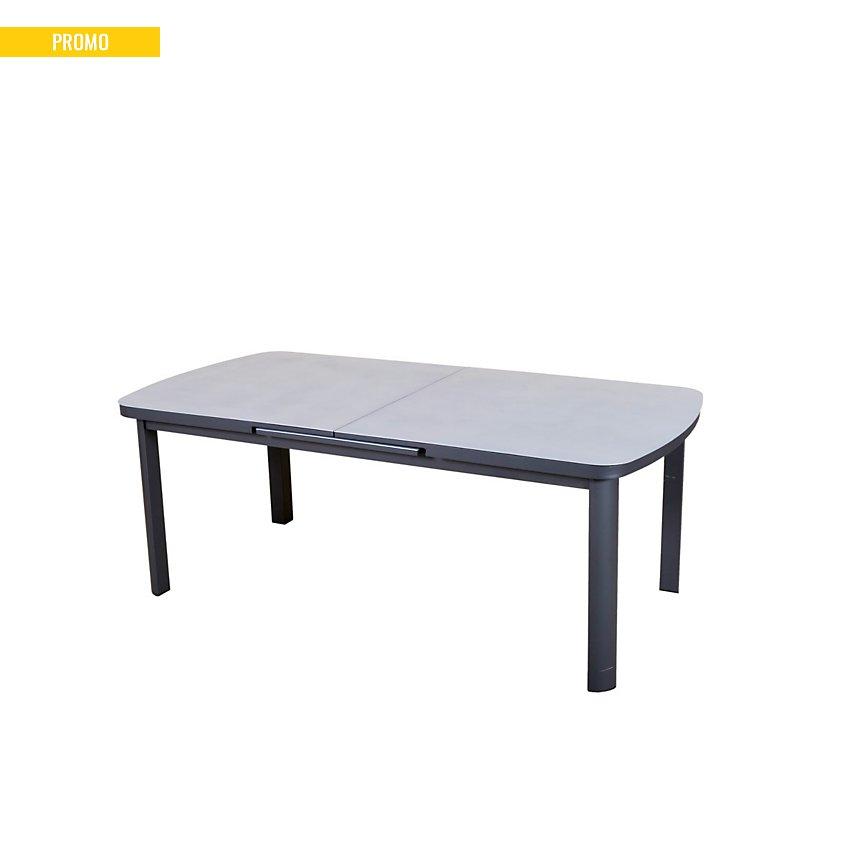 Table rectangulaire Pop Up 8/10   personnes gris anthracite/ gris argent
