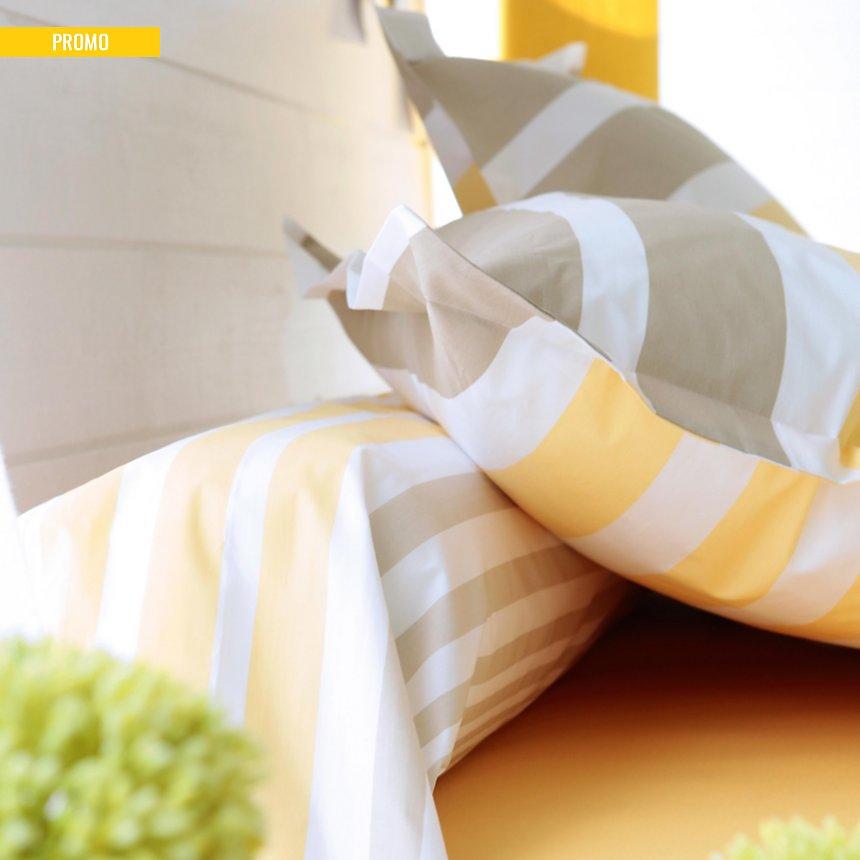 Drap housse percale Stripe Narcisse  TRADILINGE