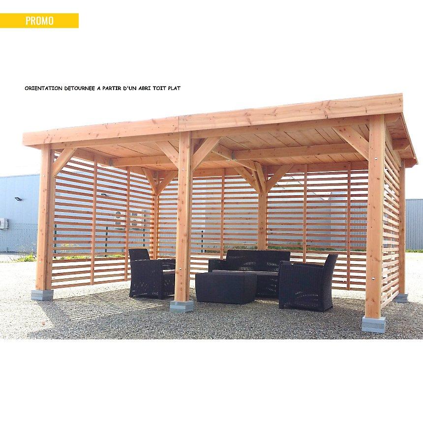 Abri à toit plat pour voiture Ile-de-  France 408 x 510 en bois Douglas CPBF