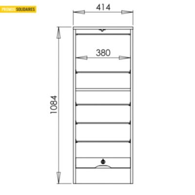 Classeur rideau simple h.108,4 cm