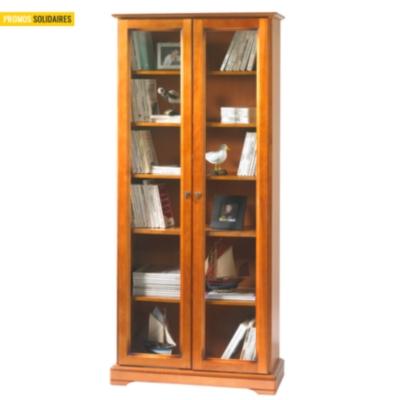 Bibliothèque Florac 2 portes, merisier