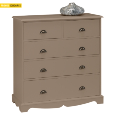 Commode 5 tiroirs Hastings taupe