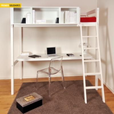 lit mezzanine 90 blanchi waldo avec espace de travail. Black Bedroom Furniture Sets. Home Design Ideas