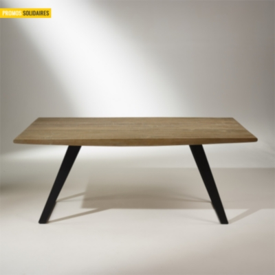 Table de salle manger ch ne massif pieds m tal 8 10 for Salle a manger 8 couverts