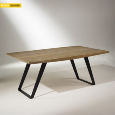 Table de salle manger ch ne massif pieds m tal 8 10 for Table salle a manger 8 couverts