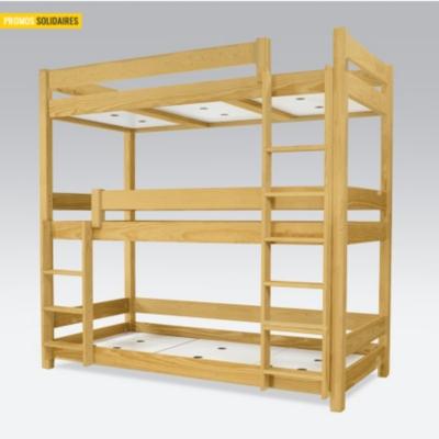Lit superpos abc 3 places en bois massif 90x190 - Lit superpose 3 places bois ...